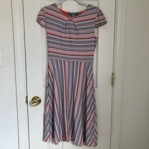 Rainbow Checkered Pattern A-line Dress